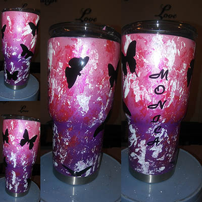 Custom painted ladies tumbloer cup