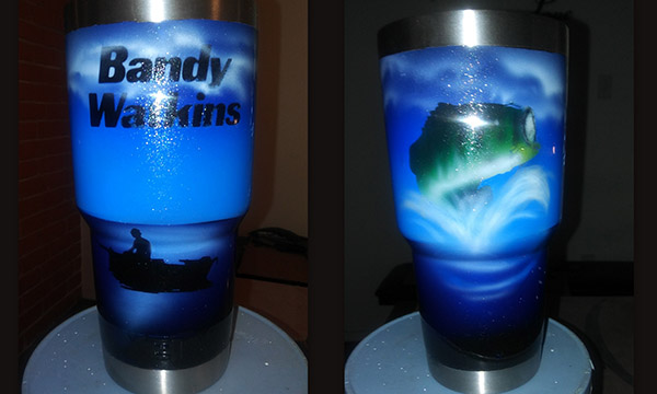 yeti tumbler cusstom paint bass fishing opt